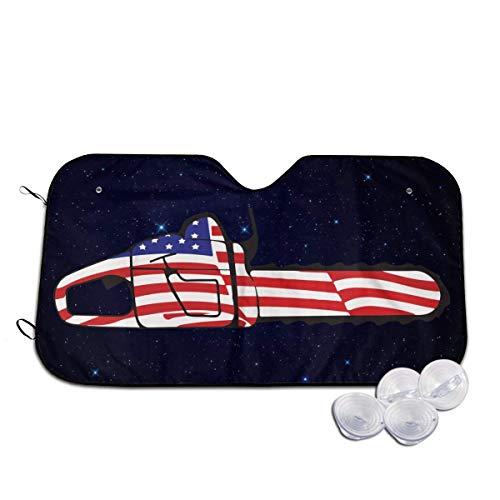 Sonnenschutz für Kettensäge mit amerikanischer Flagge, für Windschutzscheibe, faltbar, für Auto, SUV, LKW, Minivans, kühlt den Fahrzeuginnenraum
