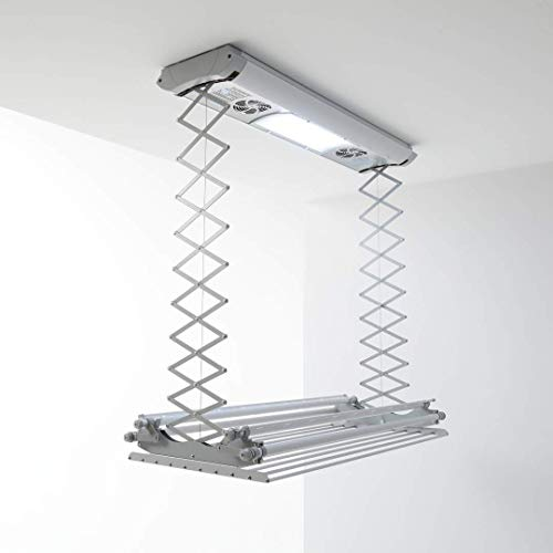 foxydry Air, Wall and ceiling clothesline, electrical drying rack, with remote control in aluminium and steel (150)