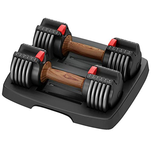 Dumbbells Fitness Hanteln Home Smart Gewichtheben Kit, Fitnessstudio Gewicht Verstellbare Hantel, Abnehmbare Fitnessgeräte, Mit Tablett, (Color : Black, Size : 15lb*2)