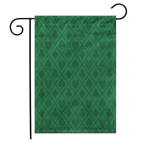 12,5 'x 18' Gartenflagge Blackjack Green Pattern Pokertisch Casino Vegas Las Fortune Doppelseitige dekorative Haus Yard Flags im Freien