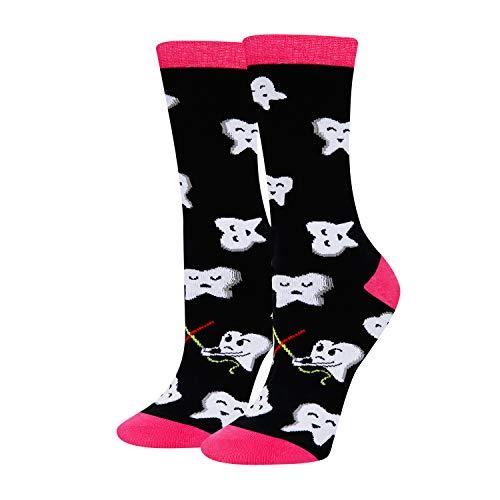 Women's Novelty Crazy Dental Funny Happy Teeth Crew Socks in Black, Dentist Gift
