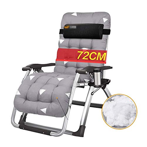 Mr.T Gravity Stuhl Außen Garden Lounge Chair Sonnenliege Haushalt Liegestuhl Faltbare Büro Nap-Bett Außen Strand Stuhl Feldbett Grau Load Bearing 150kg Camping Sessel (Color : 1gray)