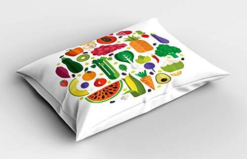 ABAKUHAUS Arte Vegetal Funda de Almohada, Delicioso Food Circle, Decorativa de Suave Microfibra Estampada Lavable, 80 cm x 40 cm, Multicolor