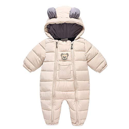 Bebés Mameluco con Capucha Invierno Traje de Nieve Cálido Abrigo Manga Larga Pelele Monos Patrón de Oso Disfraz Regalo Niños Niñas 9-12 Meses Beige