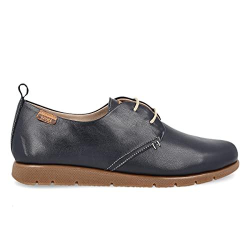 PAYMA - Zapatillas Deportivas Sneakers de Piel para Mujer. Zapatos Planos Casual Blucher. Cierre Cordones. Piel Super Flexible. Máxima Comodidad. Color Cuero, Azul Marino, Rojo y Negro.