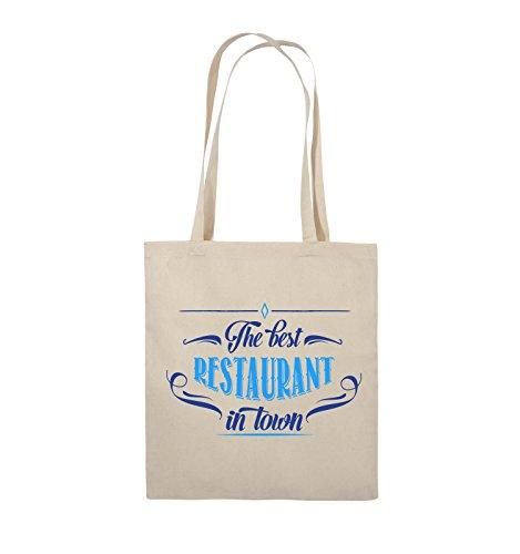 Comedy Bags - The Best Restaurant in Town - Jutebeutel - Lange Henkel - 38x42cm - Farbe: Natural/Royalblau-Hellblau