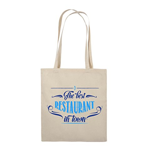 Comedy Bags - The Best Restaurant in Town - Jutebeutel - Lange Henkel - 38x42cm - Farbe: Natural/Royalblau-Hellblau