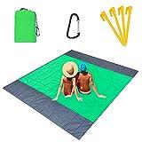 Alfombras de Playa 210 x 200 cm Manta de Picnic Impermeable con 4 Estaca Fijo, Portátil y Ligero Alfombras de Picnic para la Playa Acampar Picnic y Otra Actividad al Aire Libre, Verde