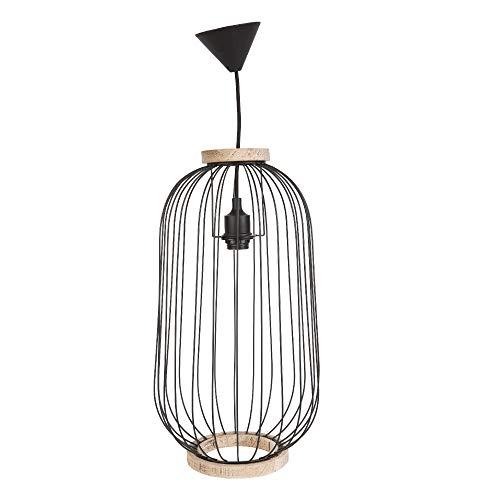 KASA Hanglamp, Metalen en Houten Kooi, Ovale Kroonluchter