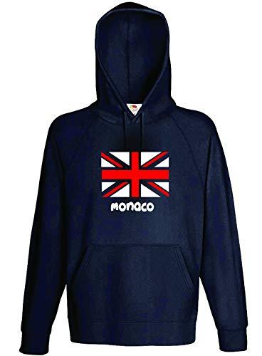 Felpa Nera Cappuccio Bandiera Monaco Tifosi Calcio Taglia M (per Taglie S M L XL XXL - Bambino invia Messaggio con n. Ordine)