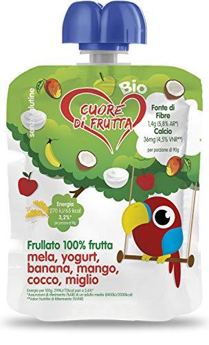 Cuore Di Frutta Frullato di Frutta Bio, Mela, Yogurt, Banana, Mango, Cocco e Miglio - Confezioni da 90G, 12 Unità