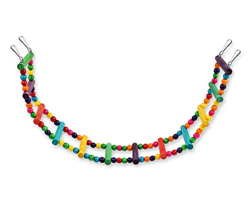 SCSpecial Vogelleiter, Spielzeug, 60 cm, farbig, flexibel, für Papageien, Schaukel, Brücke aus Holz, Nymphensittiche, Käfig, zum Aufhängen, Kletterleiter