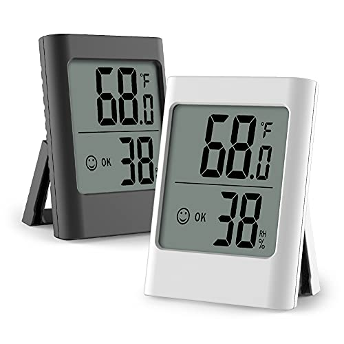 Humidity Gauge, 2 Pack Indoor Thermometer for Home Digital Hygrometer Room Thermometer and Humidity Gauge with Temperature Humidity Monitor AAA Battery Powered(Color: Black and White)