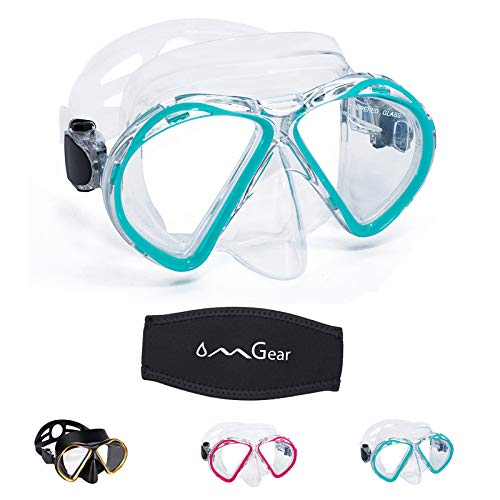 OMGear Diving Mask Swim Goggles with Nose Snorkeling Gear Adult Snorkel Mask Dive Glasses Silicone Scuba Free Diving Spearfishing Neoprene Strap Cover(Aqua)