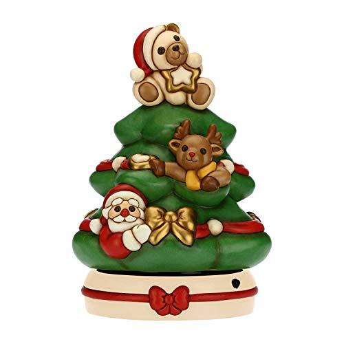 THUN - Carillon Albero di Natale con Orsetto, Babbo Natale e Renna - Decorazioni Natale Casa - Formato Maxi - Ceramica - 31 x 31 x 40 h cm