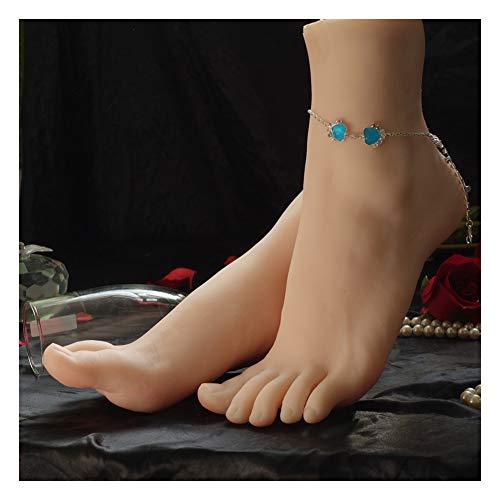 RHSMW Silicone Modello di Piede Femminile, Un Paio di Piedi in Silicone Realistiche Modellare Piedi Femminili, Riprese Modello Display Puntelli di Scarpe, Mostra Giocattoli Fetish,One Pair