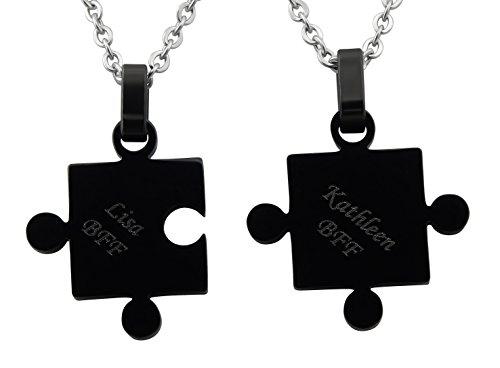 Hanessa 2x schwarze Puzzle-teile. Hals-kette mit individueller Wunsch Gravur Partner-Ketten aus Edelstahl Schmuck für Paare Geschenk zum Vatertag für den Papa Vater