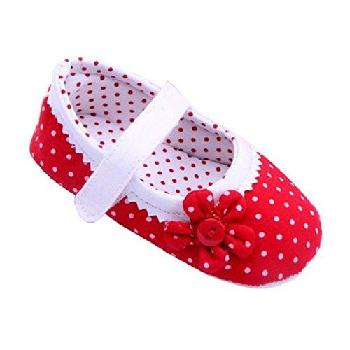 Xinantime Zapatos de bebé, Zapatos de Las Muchachas del Verano Flor Cuero de la PU (S, Rojo)