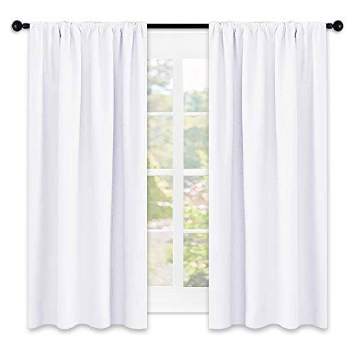 NICETOWN Window Curtain Panels - Semi Blackout Rod Pocket Curtain Set for Bedroom (White, 2 Panels, 42 by 45)