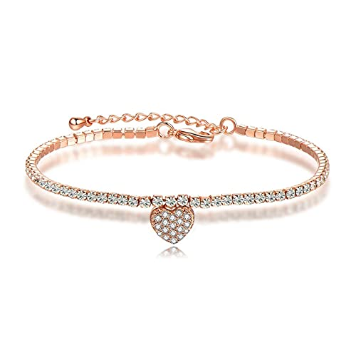 Yisss Fashionable and simple zircon heart-shaped full diamond adjustable ladies bracelet, crystal bracelet ladies, anniversary birthday jewelry gifts for women (Color : Gold)