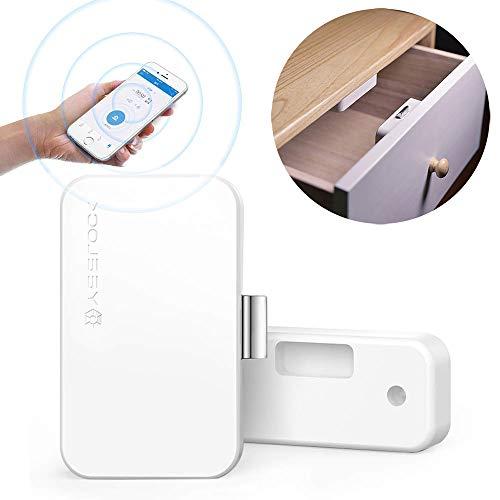 KOBWA Keyless Schrankschloss Intelligente, Kabellos Bluetooth Unsichtbar Diebstahlschutz Baby Sicherheit Sperren und Zugriff per Fernzugriff Freigeben, Steuerung über IOS/Android Smart Home