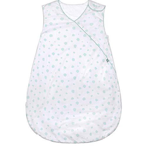 Premium Baby Schlafsack Ganzjahr, Größe: 60cm (56/62), Bequem & Atmungsaktiv, 100% Bio-Baumwolle, OEKO-TEX Zertifiziert, Flauschig Weich, Bewegungsfreiheit, 2.5 TOG, Punkte Mint von emma & noah