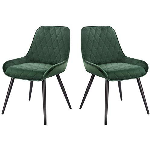 ELIGHTRY 2 Stücke Esszimmerstühle,Retro Küchenstuhl Wohnzimmerstuhl Sitzfläche aus Samt Retrostuhl mit Metallbeine Besucherstuhl Stuhl für Esszimmer Wohnzimmer Küche Dunkelgrün