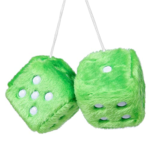 YGMONER Pair of Retro Square Mirror Hanging Couple Fuzzy Plush Dice with Dots for Car Decoration (Green)