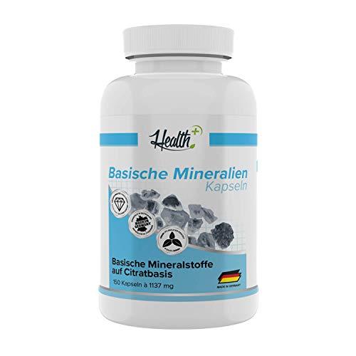 Health+ Basische Mineralien - Basen Citrate 150 Kapseln, organische Mineralstoffe und Spurenelemente - Magnesium, Kalzium, Kalium, Citrat Basis, Made in Germany