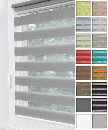 Home-Vision® Duo Rollo Klemmfix, Doppelrollo ohne Bohren mit Klämmträgern, Rollos für Fenster und Türen (Grau, B40cm x H220cm)