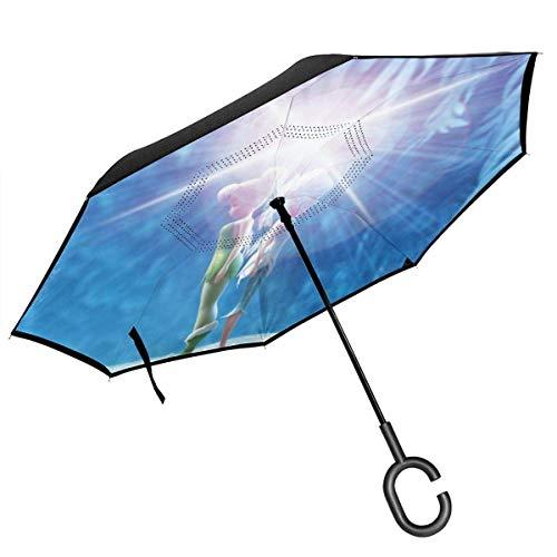 Folding Umbrella,Tin_Ker Be_Ll Anime Cartoon Film Auto Reverse Umbrella Langlebige Umgekehrte Regenschirme Für Das Reisegeschäft,80cm(H) x108cm(Dia)