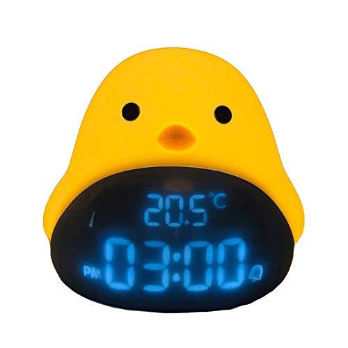 PáJaro del Tiempo Inteligente Luz De La Noche del Reloj MultifuncióN Moda Encantador Carga USB Cabecera Alarma NiñO Luz De Noche Ayuda para Dormir Levantarse En La MañAna