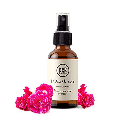 Zertifiziert Bio Rosenwasser - Vegan - Natürliches Gesichtswasser - Spray Hydrolat in Glasflasche für Gesicht Haut - Naturrein aus Organic Damascena Rose ohne Alkohol