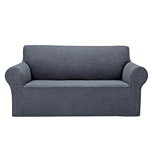 """AlGaiety Stretch Loveseat Couch Cover Slipcover, Furniture Protector Spandex 1-Piece Sofa Cover (55""""-78"""") with Elastic Bottom for Dogs, Cats, Small Checked Pattern Fabric(loveseat, Gray)"""