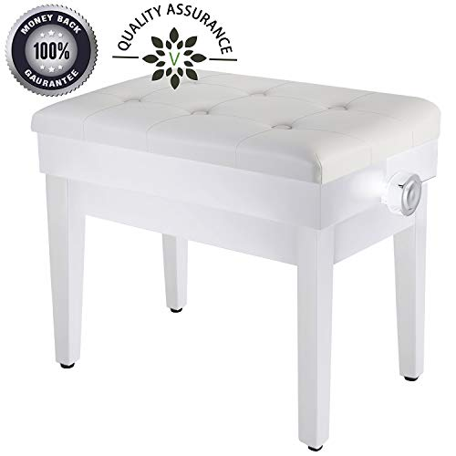 Best Prices! Adjustable Piano Bench Wooden Piano Stool with Music Storage & Height Adjustable- PU Le...