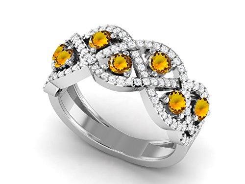 Shine Jewel Anillo de compromiso de boda de infinito de circonita natural con piedras preciosas de citrina 925 para mujer