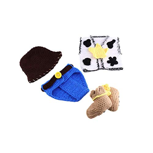 So Sydney Girls Boys Crochet Novelty Fall Shoes Baby Infant Boots Crib Shoe (M (3-6 Months), Cowboy Boots)