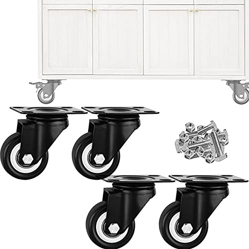 DDCHH Castors Furniture Wheels Castors Universal Wheels Heavy Duty High-Gauge Steel, Casters Set of 4 for Shopping Carts, Trolley, Workbench, Easy to Install,WithoutBrake-2.5Inch