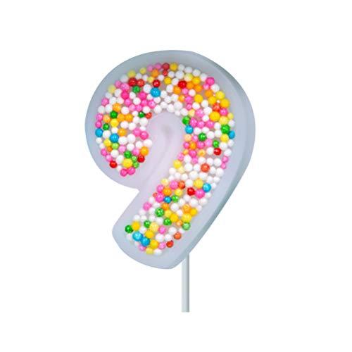 NUOBESTY Número 9 Pastel de Cumpleaños Vela Número de Cumpleaños Velas 0-9 Glitter Cake Topper Candy Cake Decoraciones para Boda Fiesta Cumpleaños Aniversario