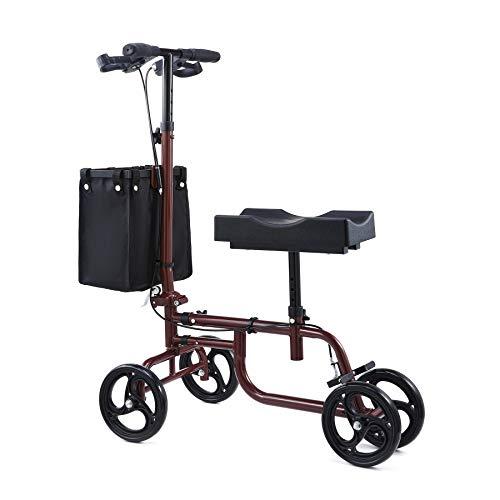 CO-Z Knie Walker Roller Faltbar Knie-Scooter Max. Belastung 135KG Alternative zu Krücken Verstellbare Kniestütze mit Bremsen Korb Lenkbarer Kniewanderer Knie Gehhilfe Rollator Drinnen Draußen (Rot)