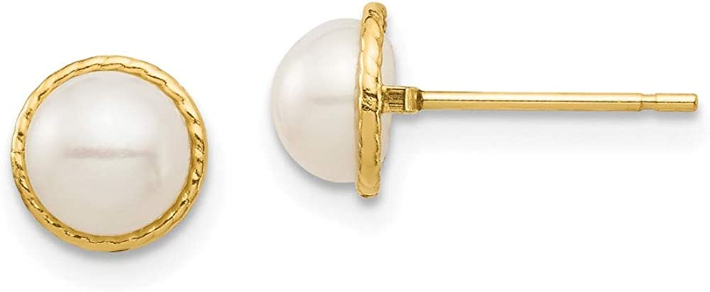 14k Yellow Gold 6mm White Button Freshwater Cultured Pearl Post Stud Earrings Ball Fine Jewelry For Women Gifts For Her