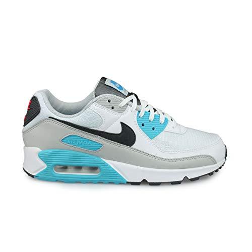 Nike AIR Max 90, Chaussure de Course Homme, White Iron Grey Chlorine Blue Lt Fusion Red Grey Fog, 43 EU