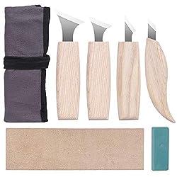 Sanglory Schnitzmesser, 4 Stück Holz Schnitz Set Wood Carving Tools Knife Set, Edelstahl Schnitzwerkzeug für Holz, Carving DIY und Skulptur