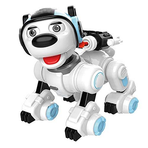 GFBVC Robot Perro Elegante Creativa Programable Infrarrojo/Touch Control De Patrulla Danza Sing Shooting RC Robot De Juguete De Regalo Animación Infantil (Color : Blue, Size : 25x15x23cm)