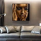 Golden Black Africa Woman Impresiones en Lienzo Maquillaje Belleza Carteles Arte de la Pared Pinturas en Lienzo Imágenes Sala de Estar Decoración del hogar 40x40cm Sin Marco