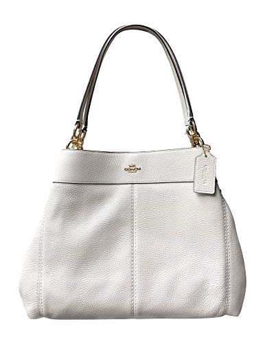 """Pebble leather; snap closure, fabric lining; light gold tone hardware Handles with 9.5"""" drop Approximate dimensions: 13"""" (L) x 10 3/4"""" (H) x 5"""" (W)"""