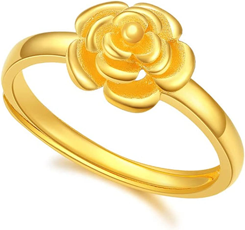 De Lapoll Solid 24K 999 Gold Ring Engagement Anniversary Band for Women Ladies