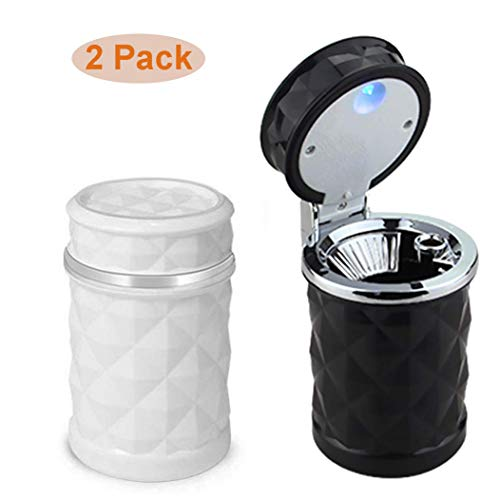 Elite Brands USA Car Cupholder Travel Ashtray with Lid and LED Light, Ideal Decorative Cigar Ash Bucket, Cigarette Ashtray, Car Waste Bin, Value Pack of 2