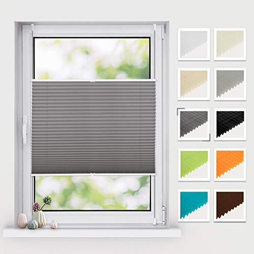 BelleMax Plissee ohne Bohren klemmfix, Jalousie Plisseerollo mit Klemmträger, Easyfix lichtdurchlässig Sichtschutz Sonnenschutz, Faltrollo für Fenster & Tür, (90x130cm, Anthrazit)