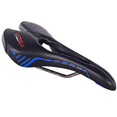BMG - Sillín de bicicleta de carreras, sillín de bicicleta de montaña, sillín profesional de piel VNL, solo 205 g, 6 colores, negro y azul
